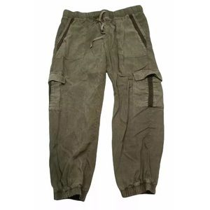 Cloth & Stone Olive Green Tencel Blend Jogger Cargo Pants Pockets Size M Womens